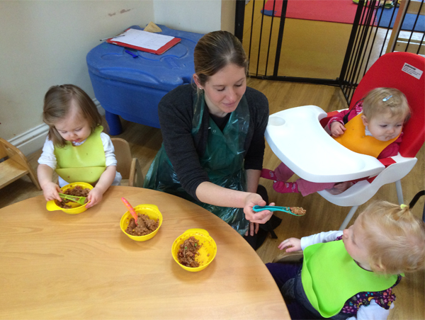 Lunch time for the babies at Acorns Nursery School in Cirencester.