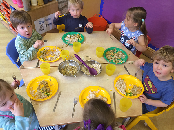 Pre-school lunch Acorns Nursery School in Cirencester.