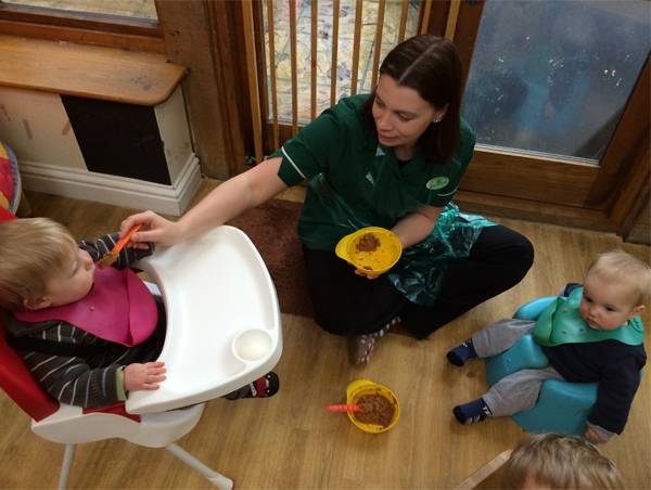 Lunch time for the babies at Acorns Nursery School, Cirencester.
