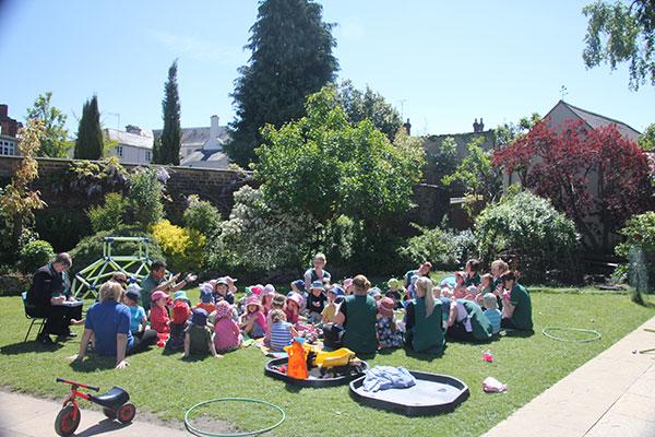 The main garden at Acorns Nursery School Cirencester