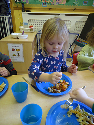 Lunch time at Acorns Nursery School, Cirencester.