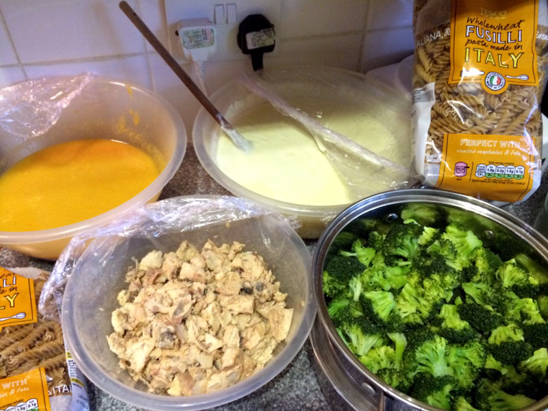 Salmon and Broccoli pasta preparation at Acorns Nursery School Cirencester