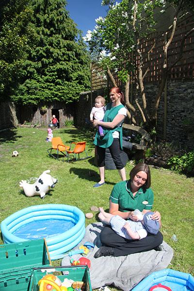 The mud kitchen garden at Acorns Nursery School Cirencester